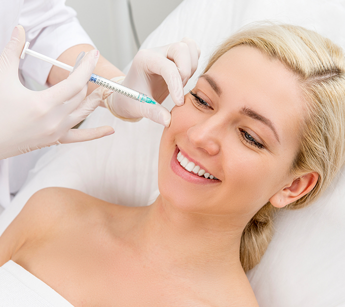 Dissolving Fillers - female face at treatment time